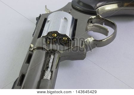 Pistol Revolver Handgun Isolated On White Background.