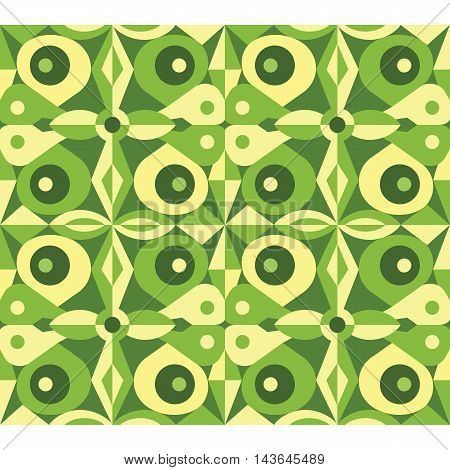 Fancy green abstract seamless vector geometrical pattern