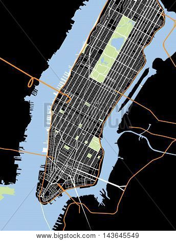 New York City - Lower and Mid Manhattan - Vector Map Black