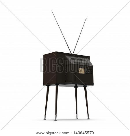 Old TV with legs on white background 3D Illustration
