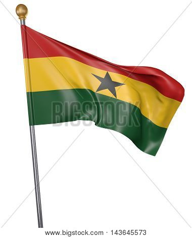 National flag for country of Ghana isolated on white background, 3D rendering