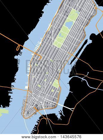 New York City - Lower and Mid Manhattan - Vector Map Aluminium