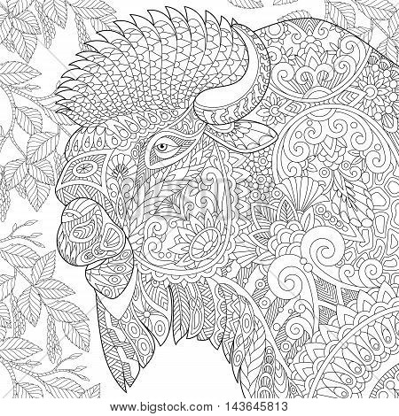 Stylized buffalo (american bison bull ox yak aurochs) among birch tree leaves. Freehand sketch for adult anti stress coloring book page with doodle and zentangle elements.