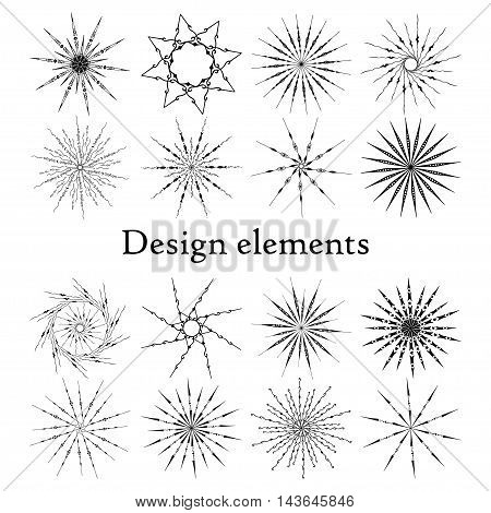 Design elements set, stars and snowflakes. Set of 16 elements. Vector. On a white background.
