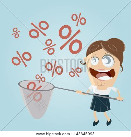 funny businesswoman catching percent signs