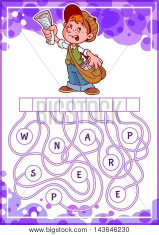 Educational puzzle game with funny boy. Find the hidden word. Cartoon vector illustration.