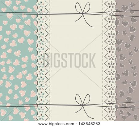 Elegant lace frame with stylish hearts. Vector vintage freedom concept. Retro frame can be used for wedding invitations, greeting cards, baby shower invitations and more creative designs.