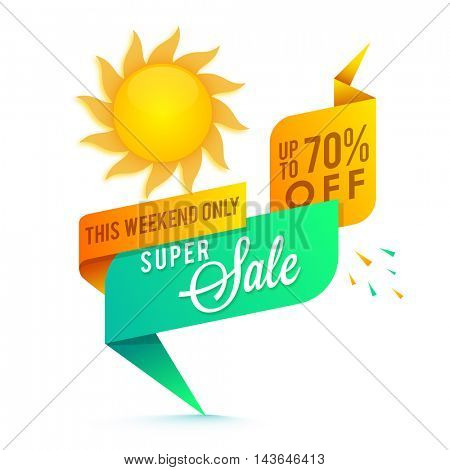 Super Sale with 70% Off for this weekend only, Glossy Paper Tag, Banner or Ribbon with Sun, Creative vector illustration.