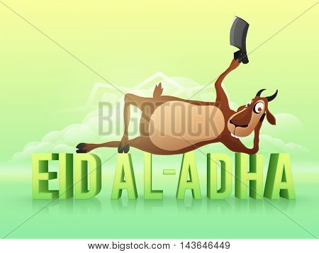 Illustration of a funny Goat holding a Cleaver Knife, laying down on glossy 3D Text Eid-Al-Adha for Muslim Community, Festival of Sacrifice Celebration.