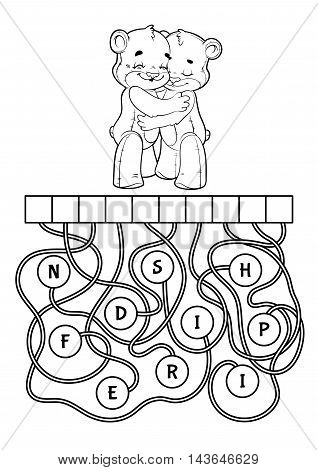Educational puzzle game with cute bears. Find the hidden word. Cartoon vector illustration.