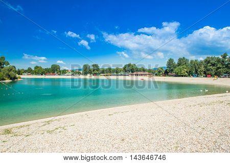 Beautiful Jarun lake in Zagreb, Croatia, sunny summer day