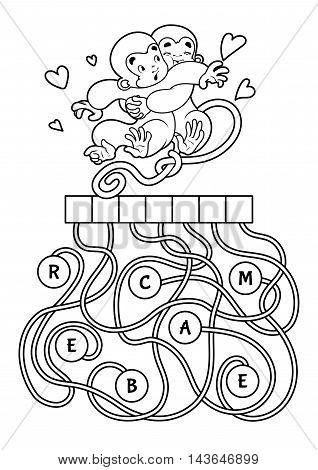 Educational puzzle game with cute monkeys. Find the hidden word. Cartoon vector illustration.
