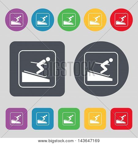 Skier Icon Sign. A Set Of 12 Colored Buttons. Flat Design. Vector