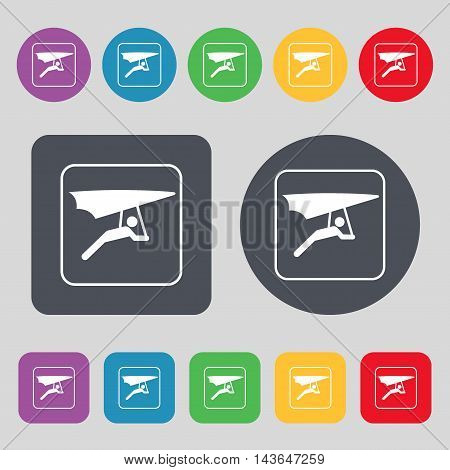 Hang-gliding Icon Sign. A Set Of 12 Colored Buttons. Flat Design. Vector