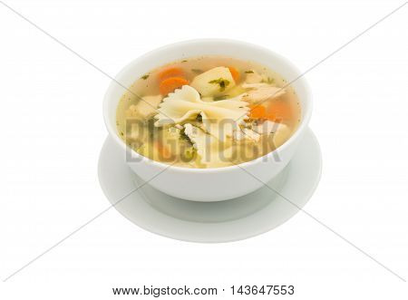 chicken soup cooking on a white background
