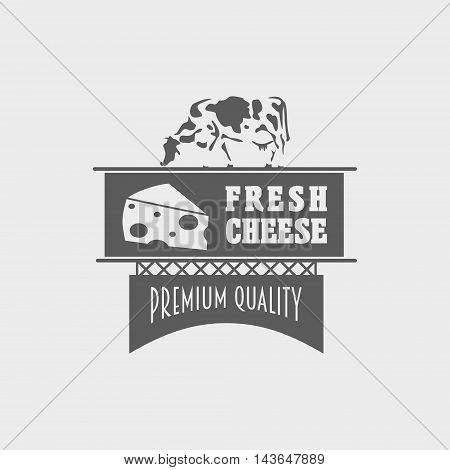 Fresh Cheese Vector Logo, Label Or Badge Design Concept With Cow And Solid Piece Of Cheese.