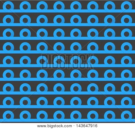 Geometric seamless pattern. Bright blue and dark grey colors. Curl tape. Seamless texture vector illustration.