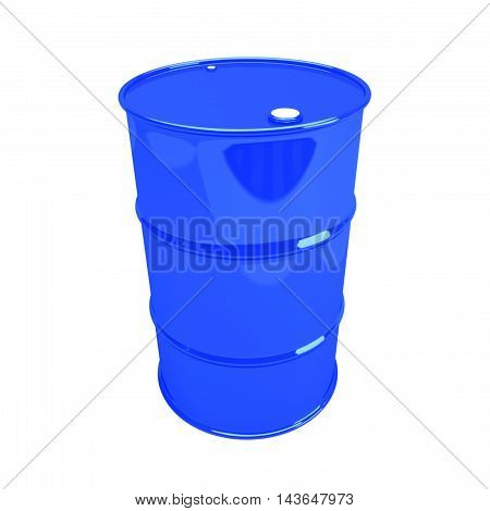 Single blue barrel, isolated on white background