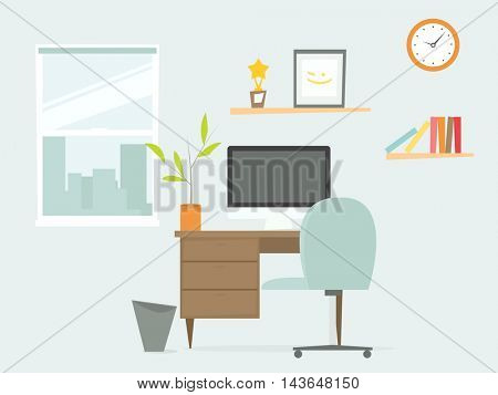 Interior of office workplace