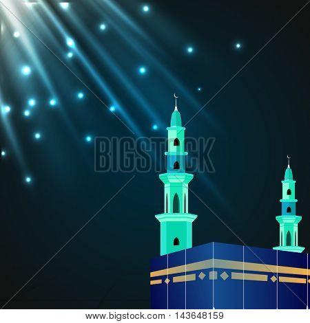 Glossy illustration of Kaaba, Mekkah. Islamic sacred Masjid-Al-Haram, Shining in glossy lights, Vector design.