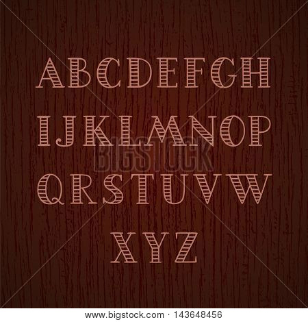 Hand drawn striped font. Capital A-Z letters. Decorative vector alphabet on wood texture