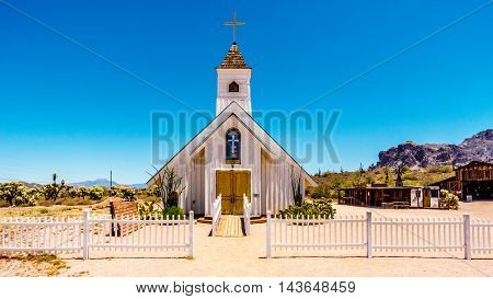 Old Church Building that is now a Museum in Lost Dutchman State Park in Tonto National Forest along the Apache Trail in Arizona, USA