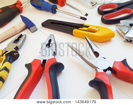 The tools isolated on a white background