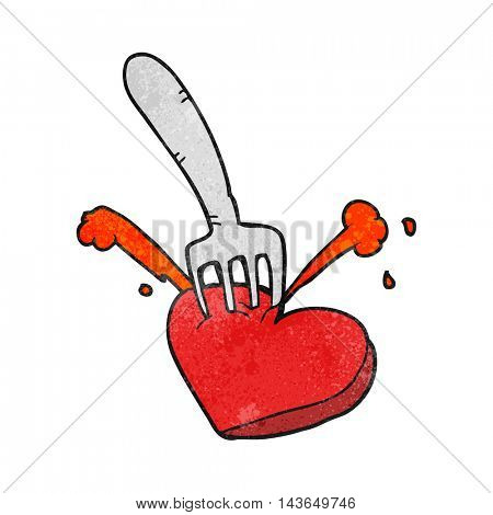 freehand textured cartoon heart stabbed by fork