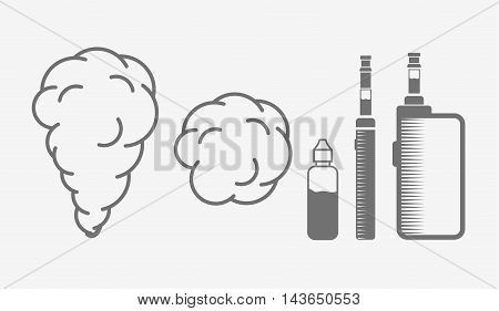 Set Of Vape Objects. Electronic Cigarette And Vaping Steam Clouds Isolated On White Background