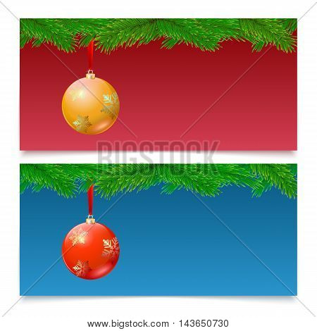 Set of three horizontal Christmas and New Year banners. Fir tree branches on colored background with bright balls.