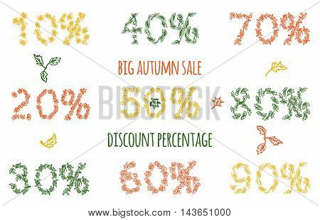 Big autumn sale with hand drawn leaves . Vector illustration for seasonal greeting card template discount percentage banner