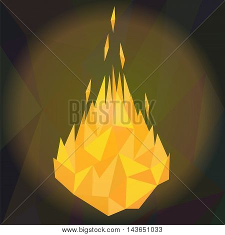 Fire concept. Vector illustration of heat flames in modern low poly polygonal style