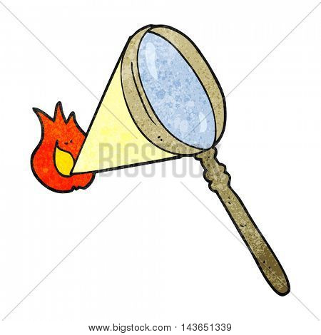 freehand textured cartoon magnifying glass burning