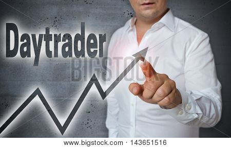 daytrader touchscreen is operated by man template picture
