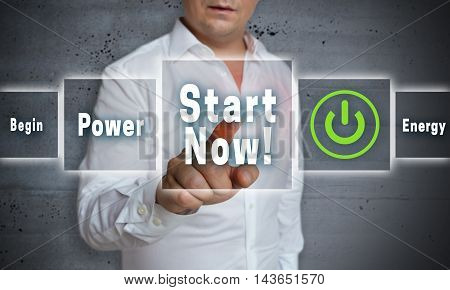 start now touchscreen concept background template picture