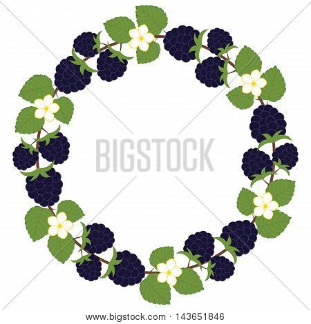 Vector blackberry wreath with leaves and flowers