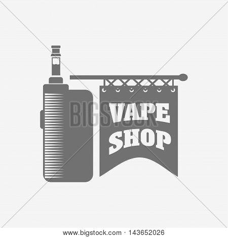 Vape Shop E-cigarette Emblem, Label Or Logo. Vector Vintage Illustration. Isolated On White Backgrou