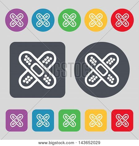 Adhesive Plaster Icon Sign. A Set Of 12 Colored Buttons. Flat Design. Vector