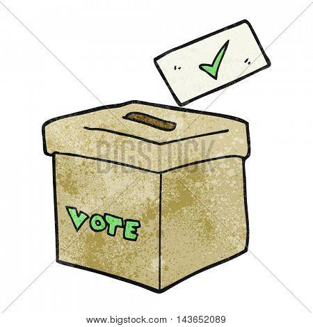 freehand textured cartoon ballot box