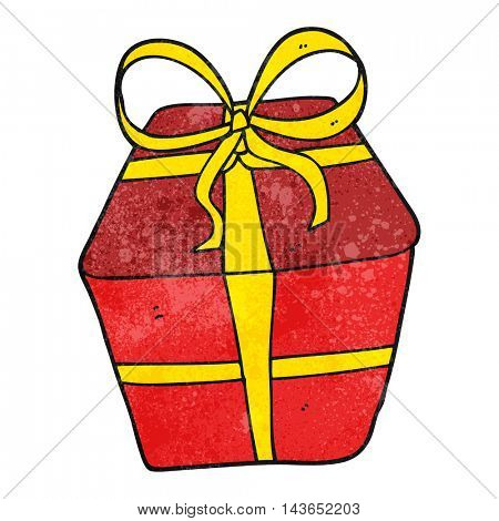 freehand textured cartoon wrapped present