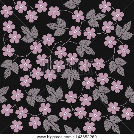 Elegant seamless pattern with pink flowers and leaves.