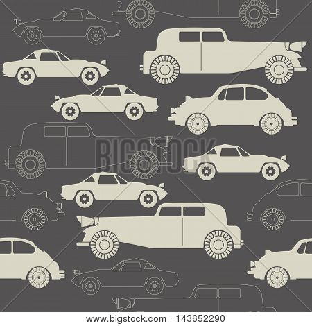 Elegant seamless pattern with retro cars on grey background. Stylish template with retro cars can be used for paper, linen,  tissue, design fabric and more creative designs.