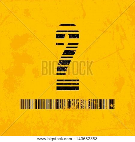 Stylish barcode typeface number two. Stripped letters of barcode scanning. Custom font. Vector illustration
