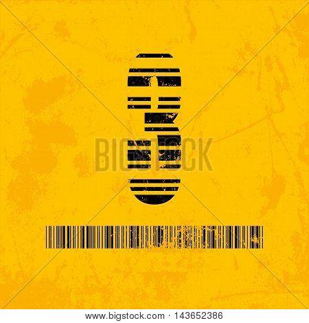 Stylish barcode typeface number three. Stripped letters of barcode scanning. Custom font. Vector illustration
