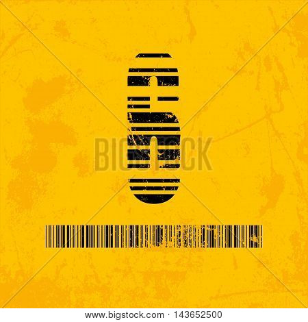 Stylish barcode typeface number six. Stripped letters of barcode scanning. Custom font. Vector illustration