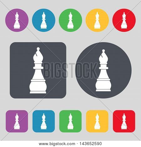 Chess Bishop Icon Sign. A Set Of 12 Colored Buttons. Flat Design. Vector