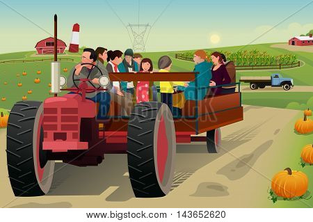 A vector illustration of people on hayride in a farm during fall season