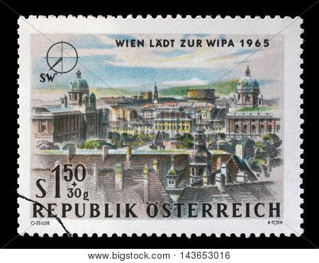 ZAGREB, CROATIA - JULY 03: A stamp printed in Austria, is dedicated to the Vienna International Philatelic Exhibition, shows South West Vienna, circa 1964, on July 03, 2014, Zagreb, Croatia