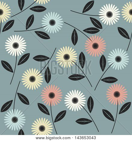 Endless pattern with abstract flowers can be used for design fabric, linens, kids clothes,  greeting cards and more creative designs.