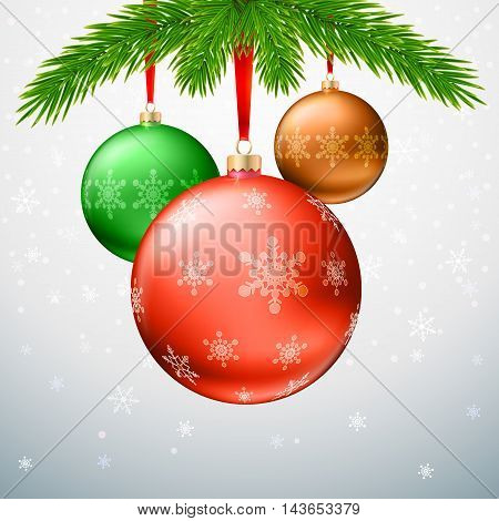 Gold Christmas balls with green fir branches on the background made of snowflake. Realistic vector bright ball with snowflakes and red ribbon, editable eps 10